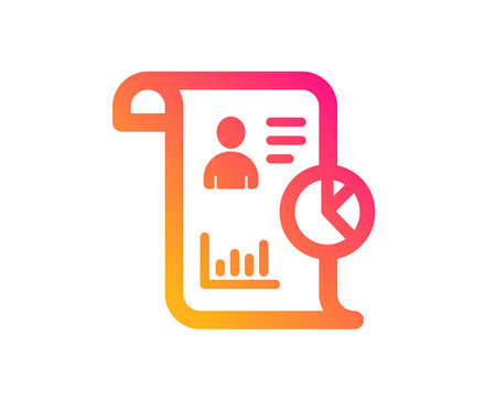Report icon. Business management sign. Employee statistics symbol. Classic flat style. Gradient report icon. Vector