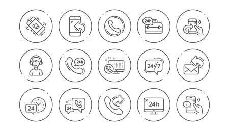 Processing line icons. Call center, Support and Chat message. 24 hour service linear icon set Line buttons with icon. Editable stroke. Vector