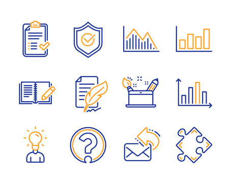 Creativity concept, Feather signature and Question mark icons simple set. Approved shield, Report diagram and Investment graph signs. Approved checklist, Education and Feedback symbols. Vector