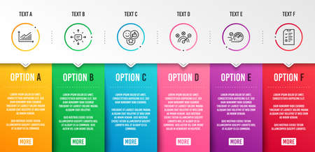 Sms, Correct answer and Graph icons simple set. Like, Speedometer and Interview signs. Conversation, Speed symbol. Technology set. Infographic template. 6 steps timeline. Business options. Vector