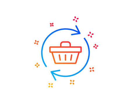 Update Shopping cart line icon. Online buying sign. Supermarket basket symbol. Gradient design elements. Linear refresh cart icon. Random shapes. Vector