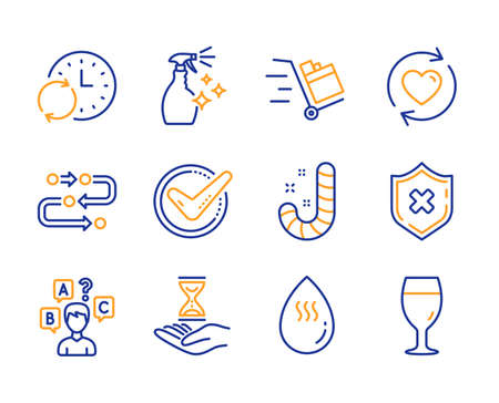 Washing cleanser, Update relationships and Update time icons simple set. Methodology, Time hourglass and Quiz test signs. Candy, Confirmed and Push cart symbols. Line washing cleanser icon. Vector