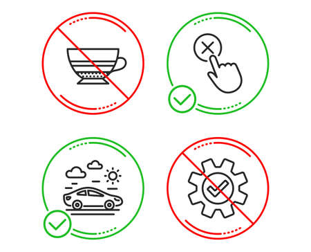 Do or Stop. Mocha, Car travel and Reject click icons simple set. Service sign. Coffee cup, Transport, Delete button. Cogwheel gear. Line mocha do icon. Prohibited ban stop. Good or bad. Vector