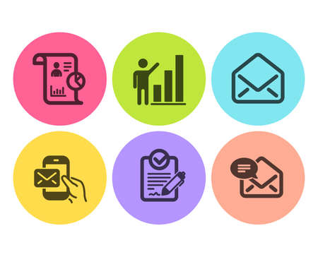 Rfp, Report and Graph chart icons simple set. Mail, Messenger mail signs. Request for proposal, Work statistics. Education set. Flat rfp icon. Circle button. Vector Stock Vector - 118567531