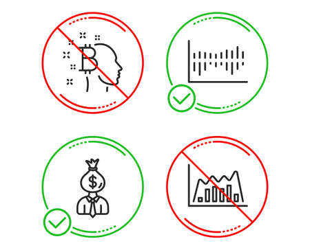 Do or Stop. Column diagram, Manager and Bitcoin think icons simple set. Infographic graph sign. Sale statistics, Work profit, Cryptocurrency head. Line diagram. Finance set. Vector