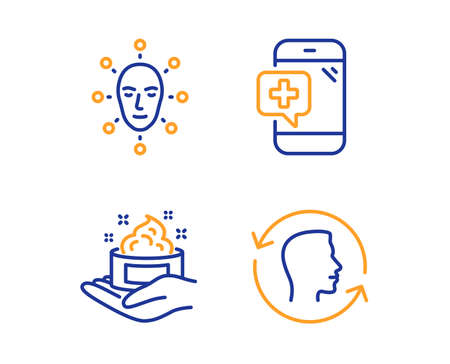 Face biometrics, Skin care and Medical phone icons simple set. Face id sign. Facial recognition, Hand cream, Mobile medicine. Identification system. Healthcare set. Linear face biometrics icon Banque d'images - 124535347