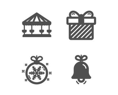 Set of Surprise, Christmas ball and Carousels icons. Bell sign. Present with bow, Snowflake, Attraction park. Alarm signal.  Classic design surprise icon. Flat design. Vector Illustration