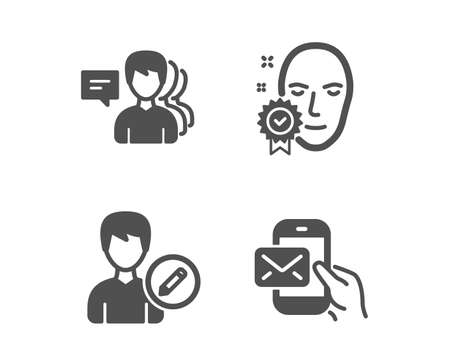 Set of People, Face verified and Edit person icons. Messenger mail sign. Support job, Access granted, Change user info. New e-mail.  Classic design people icon. Flat design. Vector Banque d'images - 118567563