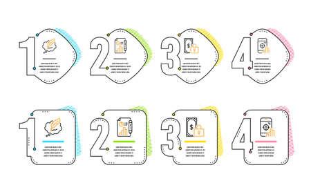 Chat de copyright, document de rapport et ensemble simple d'icônes de paiement privé. Signe de téléphone Seo. Bulle de dialogue, courbe de croissance, financement sécurisé. Moteur de recherche. Ensemble d'affaires. Chronologie de l'infographie. Vecteur Vecteurs