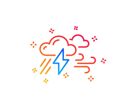 Clouds with raindrops, lightning, wind line icon. Bad weather sign. Gradient design elements. Linear bad weather icon. Random shapes. Vector