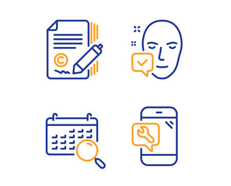 Face accepted, Copywriting and Search calendar icons simple set. Phone repair sign. Access granted, Ð¡opyright signature, Find date. Spanner service. Linear face accepted icon. Colorful design set