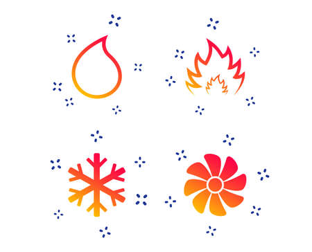 HVAC icons. Heating, ventilating and air conditioning symbols. Water supply. Climate control technology signs. Random dynamic shapes. Gradient hvac icon. Vector Stock Illustratie
