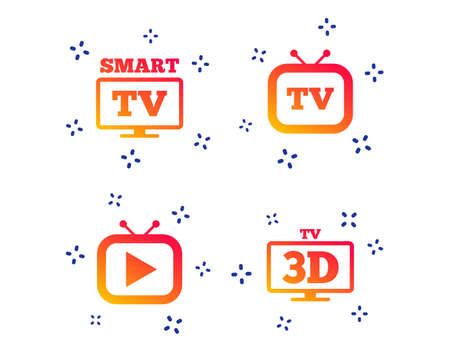 Smart 3D TV mode icon. Widescreen symbol. Retro television and TV table signs. Random dynamic shapes. Gradient tv icon. Vector  イラスト・ベクター素材