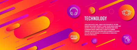 Header banner. Headphones, Bus tour and Star icons simple set. Reject click, Ab testing and Technical documentation signs. Music listening device, Transport. Technology set. Line headphones icon