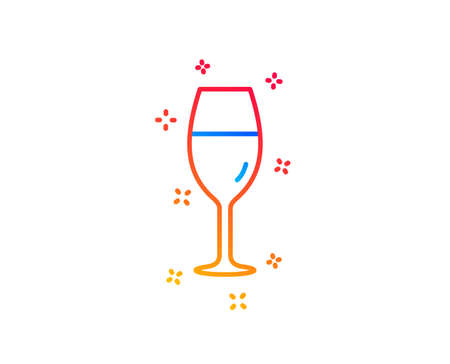 Wine glass line icon. Burgundy glass sign. Gradient design elements. Linear wineglass icon. Random shapes. Vector Иллюстрация