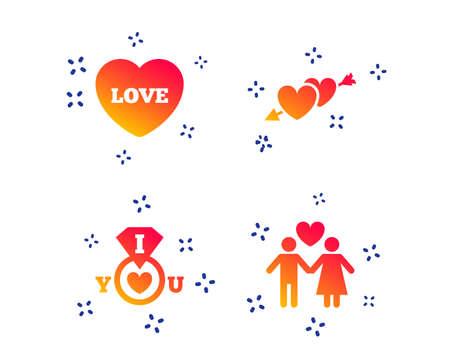 Icônes d'amour de la Saint-Valentin. Je t'aime symbole de bague. Signe d'amoureux de couple. Formes dynamiques aléatoires. Icône de dégradé de Saint-Valentin. Vecteur Vecteurs