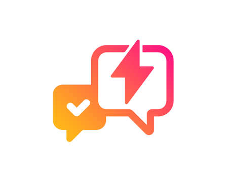 Lightning bolt icon. Chat messages sign. Speech bubble symbol. Classic flat style. Gradient lightning bolt icon. Vector