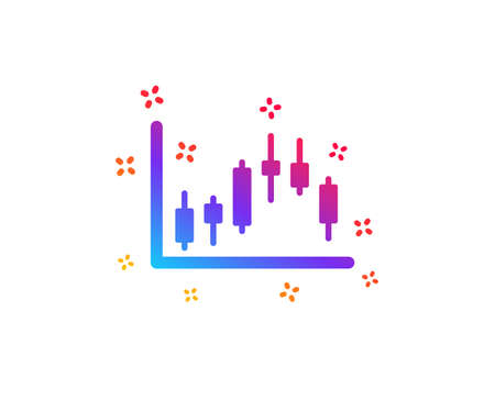 Candlestick chart icon. Financial graph sign. Stock exchange symbol. Business investment. Dynamic shapes. Gradient design candlestick graph icon. Classic style. Vector Ilustracja
