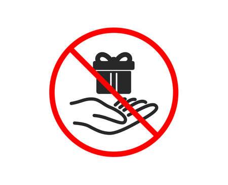 Nein oder Stopp. Symbol für das Treueprogramm. Geschenkbox-Zeichen. Präsentieren Sie das Symbol. Verbotenes Stoppsymbol. Kein Symbol für das Treueprogramm. Vektor