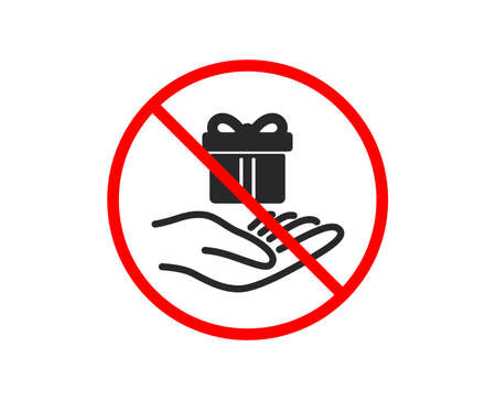 No or Stop. Loyalty program icon. Gift box sign. Present symbol. Prohibited ban stop symbol. No loyalty program icon. Vector Illustration