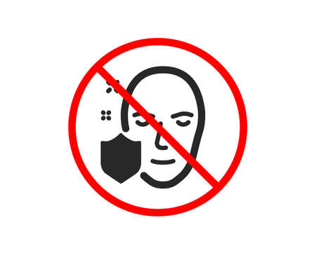 No or Stop. Face detection protected icon. Secure access sign. Facial identification symbol. Prohibited ban stop symbol. No face protection icon. Vector Stock Vector - 118567650