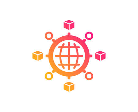 Logistics network icon. Parcel tracking sign. Goods distribution symbol. Classic flat style. Gradient logistics network icon. Vector