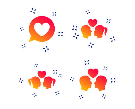 Couple love icon. Lesbian and Gay lovers signs. Romantic homosexual relationships. Speech bubble with heart symbol. Random dynamic shapes. Gradient love icon. Vector