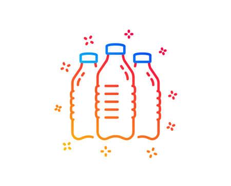 Icono de línea de botellas de agua. Todavía signo de bebida aqua. Símbolo líquido. Elementos de diseño degradado. Icono de botellas de agua lineal. Formas aleatorias. Vector Ilustración de vector