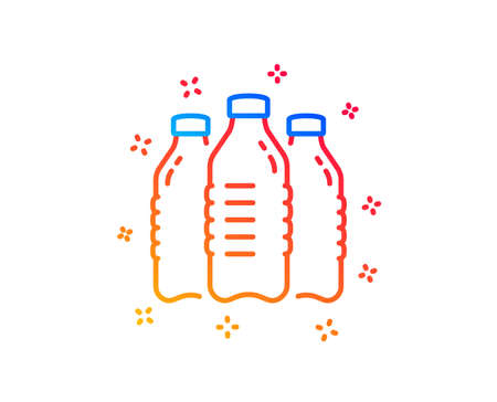 Water bottles line icon. Still aqua drink sign. Liquid symbol. Gradient design elements. Linear water bottles icon. Random shapes. Vector