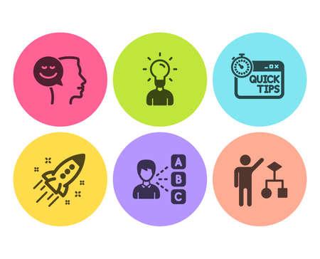 Conjunto simple de iconos de opinión, educación y buen humor. Cohete de inicio, consejos rápidos y señales de algoritmo. Elige la respuesta, idea humana. Conjunto de educación. Icono de opinión plana. Botón circular. Vector Ilustración de vector