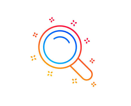 Search line icon. Magnifying glass sign. Enlarge tool symbol. Gradient design elements. Linear search icon. Random shapes. Vector