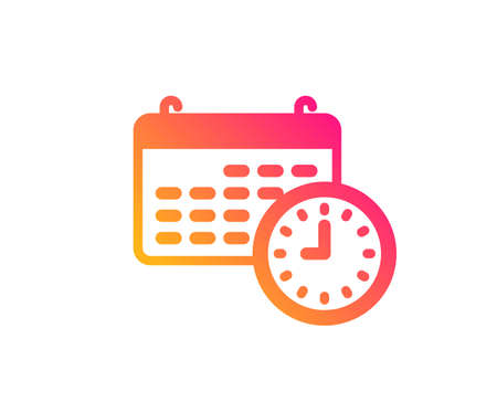 Time and calendar icon. Clock or watch sign. Classic flat style. Gradient calendar icon. Vector