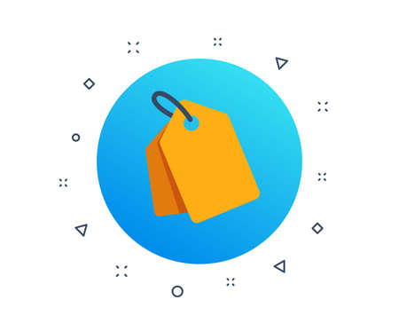 Label tag symbol. Discount sale element. Coupon with label. Special offer tag icon. Shopping coupon. Random dynamic shapes. Gradient discount tag button. Vector