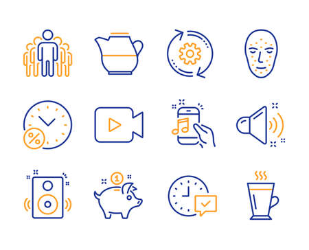 Select alarm, Speakers and Video camera icons simple set. Milk jug, Music phone and Cogwheel signs. Loud sound, Saving money and Loan percent symbols. Face biometrics, Group and Latte. Vector Illustration