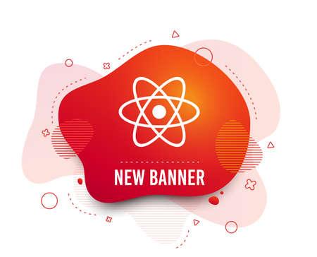 Fluid badge. Atom sign icon. Atom part symbol. Abstract shape. Gradient atom icon. Flyer liquid banner. Vector Illustration
