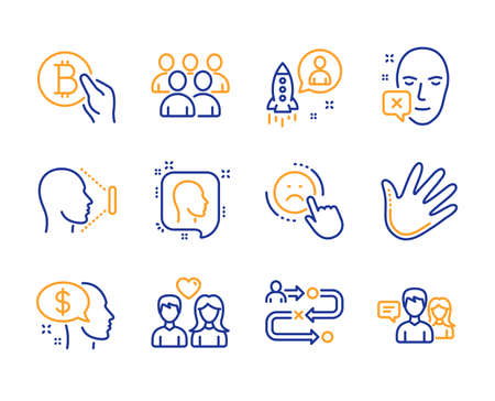 Group, Pay and Dislike icons simple set. Hand, Startup and Face declined signs. Journey path, Face id and Head symbols. Bitcoin pay, Couple love and People talking. Developers, Beggar. Line group icon