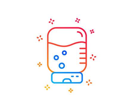 Water cooler bottle line icon. Still aqua drink sign. Liquid symbol. Gradient design elements. Linear water cooler icon. Random shapes. Vector