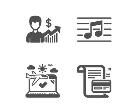 Set of Airplane travel, Business growth and Musical note icons. Payment card sign. Check in, Earnings results, Music. Agreement conditions.  Classic design airplane travel icon. Flat design. Vector