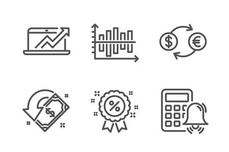Diagram chart, Currency exchange and Discount icons simple set. Sales diagram, Cashback and Calculator alarm signs. Presentation graph, Banking finance. Finance set. Line diagram chart icon. Vector