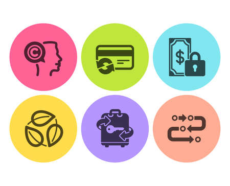 Change card, Luggage and Leaves icons simple set. Writer, Private payment and Methodology signs. Payment method, Baggage locker. Business set. Flat change card icon. Circle button. Vector Illusztráció