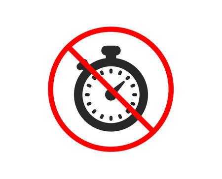 No or Stop. Timer icon. Stopwatch symbol. Time management sign. Prohibited ban stop symbol. No timer icon. Vector Stock Vector - 124535453