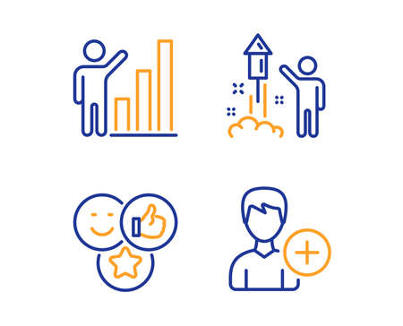 Like, Fireworks and Graph chart icons simple set. Add person sign. Social media likes, Party pyrotechnic, Growth report. Edit user data. People set. Linear like icon. Colorful design set. Vector