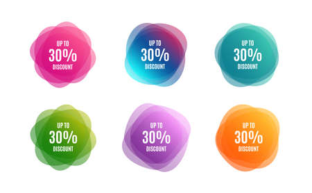 Blur shapes. Up to 30% Discount. Sale offer price sign. Special offer symbol. Save 30 percentages. Color gradient sale banners. Market tags. Vector