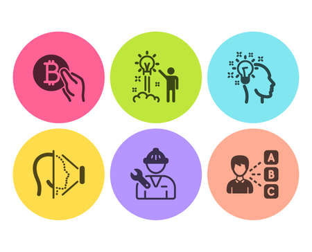 Idea, Bitcoin pay and Face id icons simple set. Creative idea, Repairman and Opinion signs. Creative designer, Cryptocurrency coin. People set. Flat idea icon. Circle button. Vector Illustration
