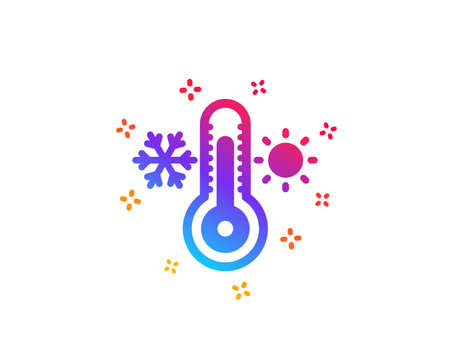 Thermometer icon. Cold and warm thermostat sign. Winter, summer symbol. Snowflake and sun. Dynamic shapes. Gradient design thermometer icon. Classic style. Vector
