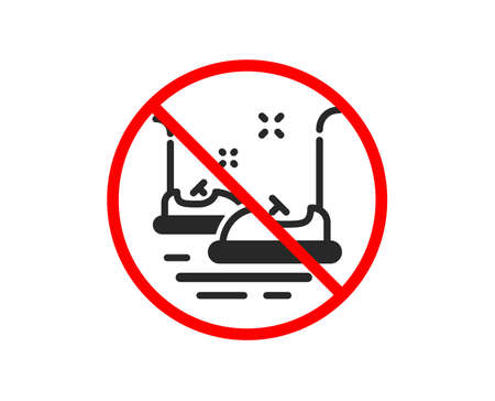 No or Stop. Bumper cars icon. Amusement park sign. Prohibited ban stop symbol. No bumper cars icon. Vector Illustration