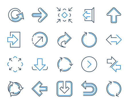 Share arrow icons. Set of Download, Synchronize and Recycle icons. Undo, Refresh and Login symbols. Sign out, download and Upload. Universal arrow elements, share, synchronize sign. Vector 스톡 콘텐츠 - 118566034