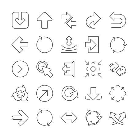 Share arrow icons. Set of  Synchronize, Download and Recycle icons. Undo, Refresh and Login symbols. Sign out, download and Upload. Universal arrow elements, share, synchronize sign. Vector