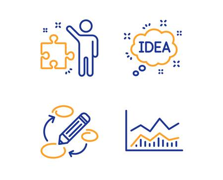 Strategy, Keywords and Idea icons simple set. Trade infochart sign. Business plan, Marketing strategy, Creative message. Business analysis. Education set. Linear strategy icon. Colorful design set