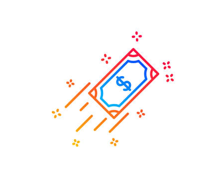 Fast payment line icon. Dollar exchange sign. Finance symbol. Gradient design elements. Linear fast payment icon. Random shapes. Vector